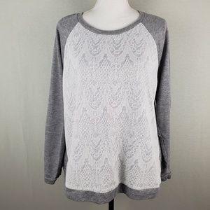 Adrienne Vittadini Textured Lace Scoop Sweater XXL